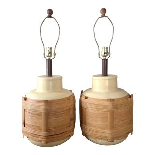 Vintage Monumental Rattan Wrapped Pottery Table Lamps- a Pair For Sale