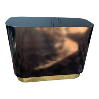 20th Century Contemporary Black Oval Block Side Table With Brass Base For Sale