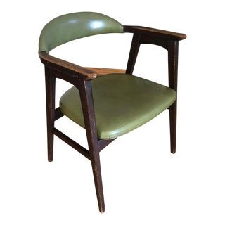 Mid-Century Green Vinyl Arm Chair For Sale