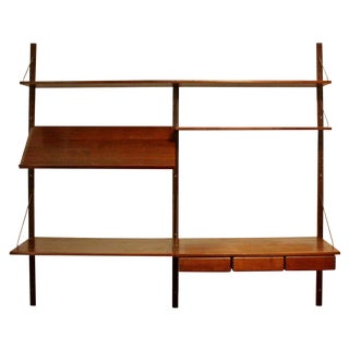 Mid Century Modern Danish Wall Mounted Floating Shelving Unit Poul Cadovious For Sale