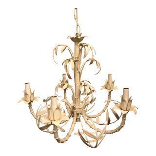 Mid 20th Century Chinoiserie Faux Bamboo Tole Chandelier For Sale