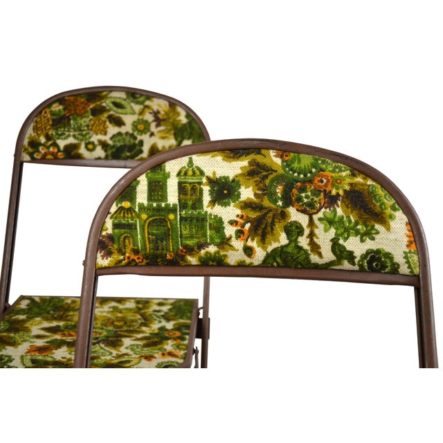 Vintage Tapestry Folding Chairs - S/4 - Image 5 of 6