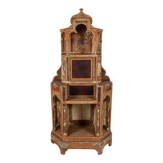 1920s Moorish Hand Carved Oak and Leather Cabinet For Sale