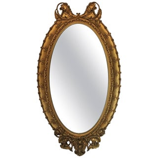 Large Victorian Giltwood Oval Hanging Mirror For Sale