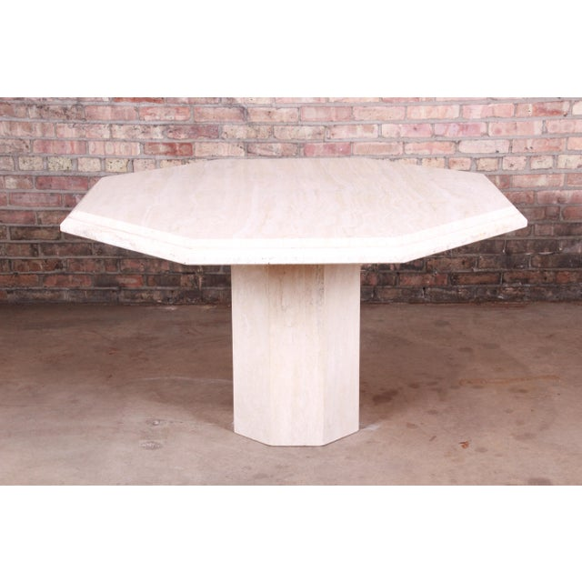 Modern Italian Travertine Octagonal Pedestal Dining or Center Table For Sale - Image 10 of 10