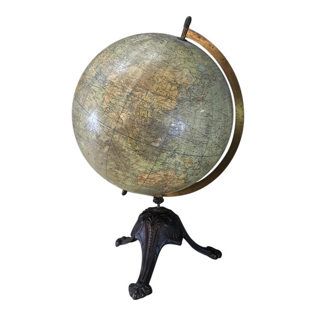 Antique French Paper MacheÕ World Globe on Painted Cast Iron Stand For Sale