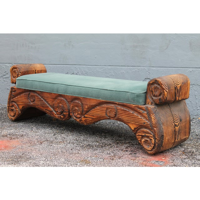 1940's Mid-Century Carved Wood Sitting Bench - Image 9 of 11