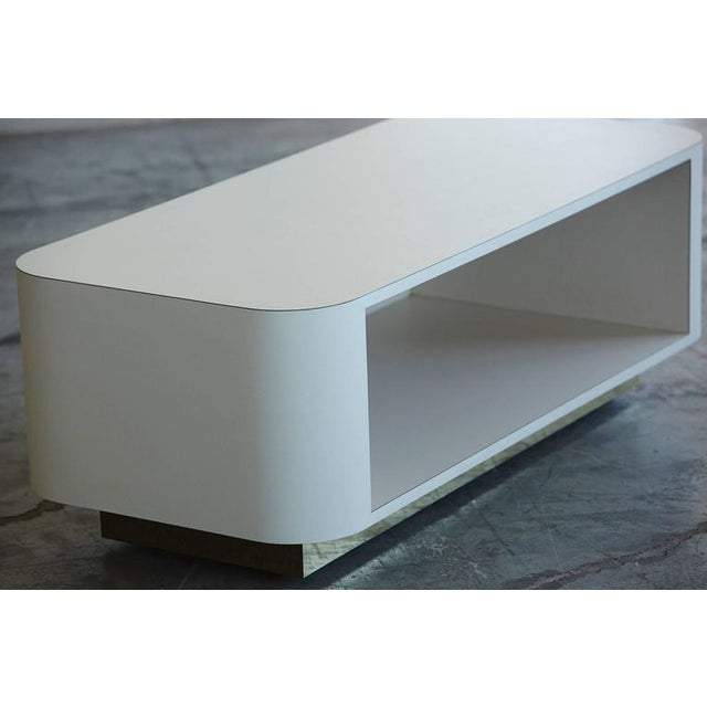 Custom-Made White Laminate Media Center on Casters, circa 1980s For Sale - Image 4 of 10