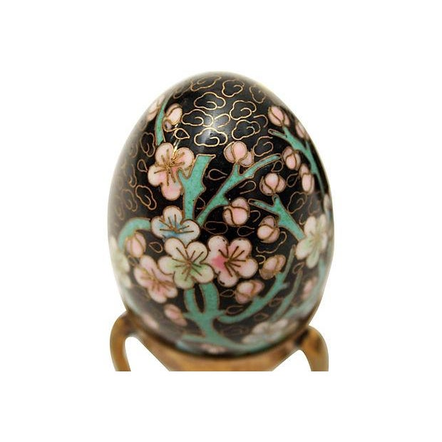 Cloisonne Eggs on Brass Display Stands - A Pair - Image 4 of 6