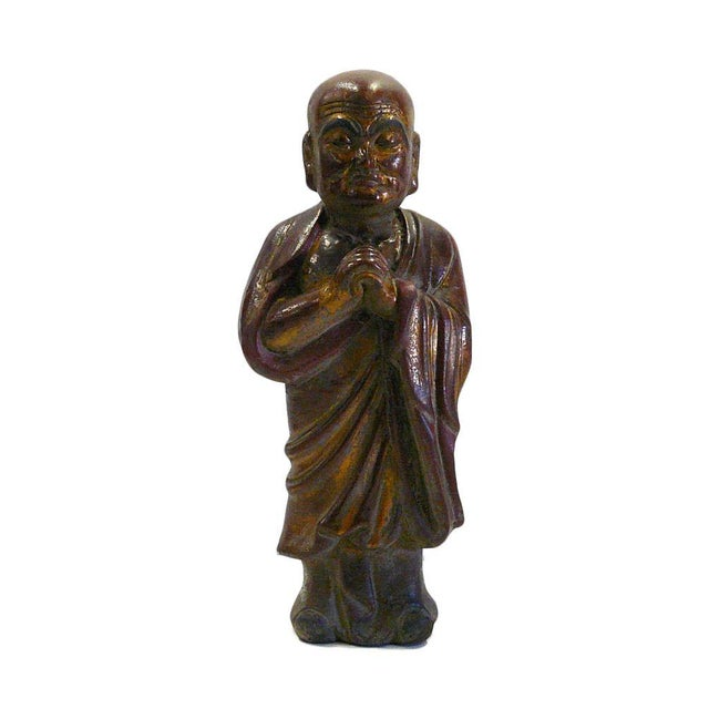 Wood Vintage Chinese Wood Brown Golden Monk Figure For Sale - Image 7 of 7