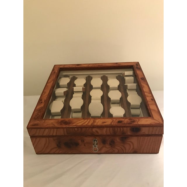 Up for sale is this beautiful briarwood Agresti 5 row watch case with leather and velvet interior. Fits 15 watches. Made...