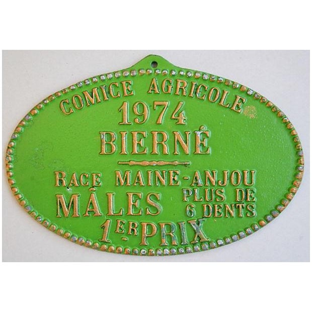 1974 Lime Green French Trophy/Award Price Plaque - Image 3 of 3