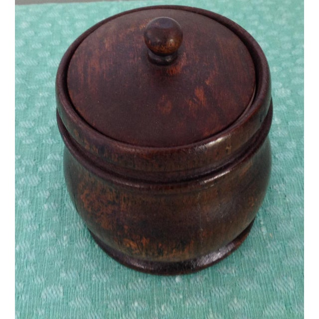 Antique 1920s French Oak Tobacco Jar with Ceramic Cup Liner For Sale - Image 4 of 4