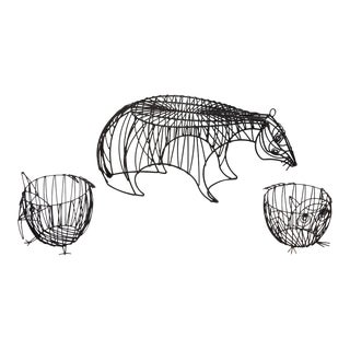 1950s Metal Wire Animal Stool and Baskets by John Risley - Set of 3 For Sale