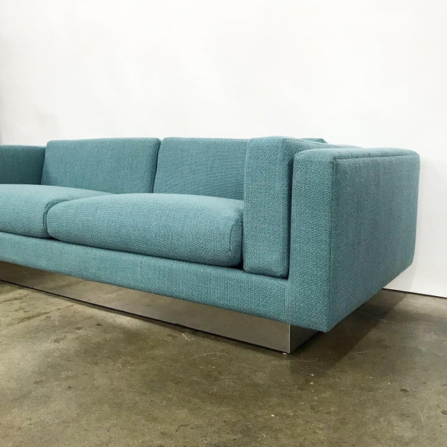 Modern Sofa With New Upholstery & a Chrome Plinth Base by Metropolitan Furniture For Sale - Image 6 of 11