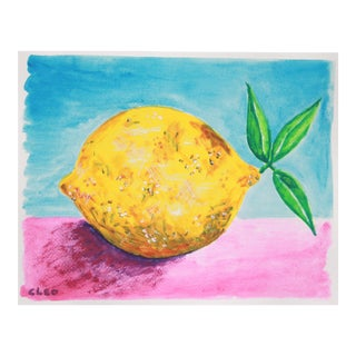 Contemporary Lemon Still Life Painting by Cleo Plowden For Sale