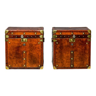 Antique English Leather Campaign Trunks or Side Tables, Pair For Sale