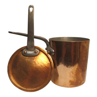 Antique French Copper Cooking Pot