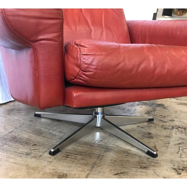 1960s Mid Century Modern Red Leather Swivel Chair For Sale In San Antonio - Image 6 of 9