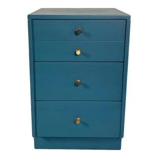 Mid-Century Modern Lacquered Blue Dresser Nightstand For Sale