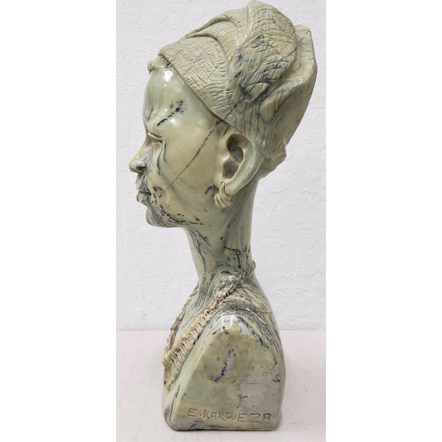 Marble Sculpture of a Young African Woman by Kakweza Brilliant life-like sculpture carved from beautifully striated...