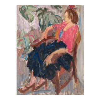 'Woman Seated' by Victor Di Gesu; 1960, Paris, Louvre, Académie Chaumière, California Post-Impressionist, Lacma For Sale