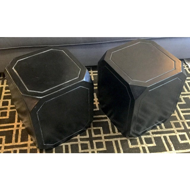Black Concrete Tables/Stools - A Pair - Image 5 of 5
