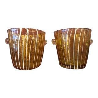 1980s Murano Venini for Disaronno Amber & White Striped Ice Buckets - a Pair For Sale