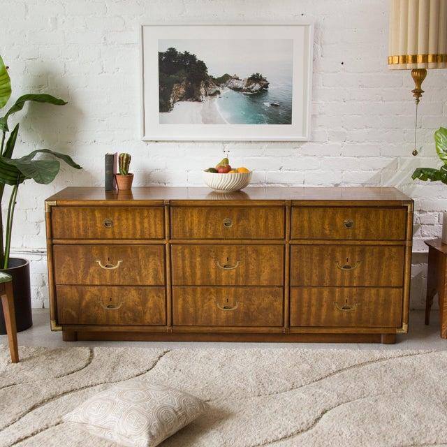 Mid-Century Modern Vintage Campaign Nine Drawer Dresser by Drexel For Sale - Image 3 of 13