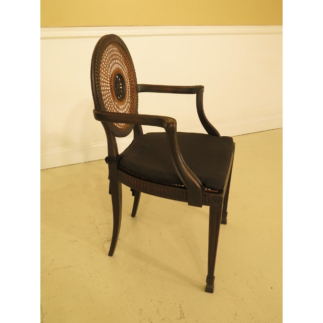 Caning Adam Style Cane Back & Seat Arm Chairs - a Pair For Sale - Image 7 of 13