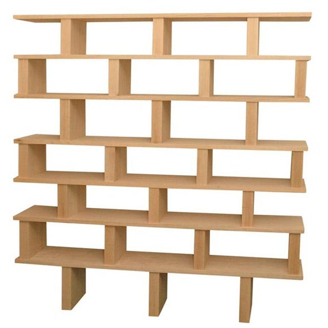 "Modern Contemporary ""Verticale"" Solid Natural Oak Shelving Unit For Sale - Image 3 of 3"