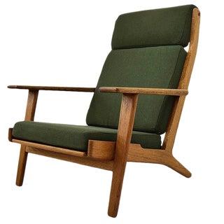 Hans Wegner Mid Century Modern High Back Oak Lounge Chair For Sale