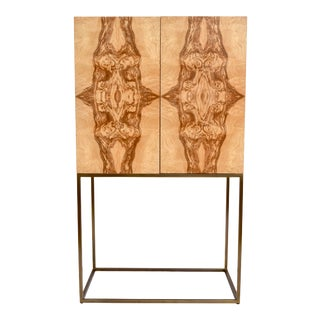 Theodore Alexander Keno Bros. Collection Burl & Brass Bar Cabinet For Sale
