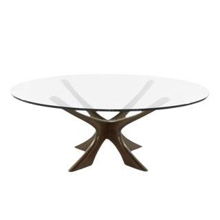 Scandinavian Modern Sculptural Walnut Base Coffee Table by Illum Wikkelsø For Sale