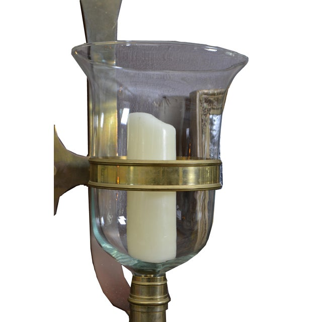 Bronze Sarreid Bronze and Glass Hurricane Lamps - a Pair For Sale - Image 7 of 11