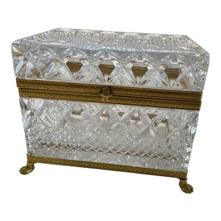 Vintage Glass and Brass Footed Box For Sale