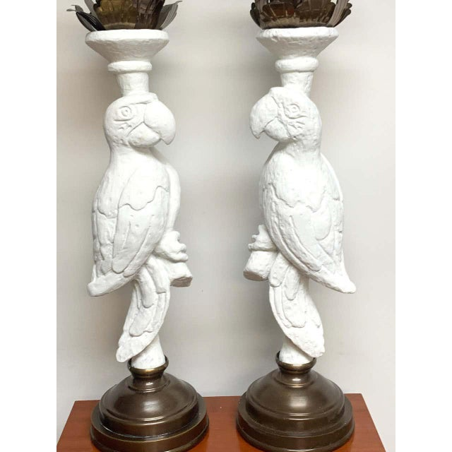 White Lacquered and Brass Parrot Lamps - a Pair For Sale - Image 12 of 13