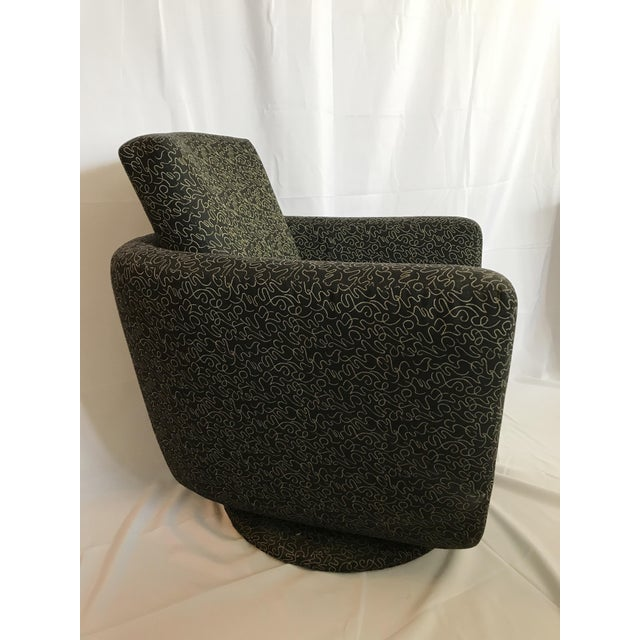 Post Modern Black and Gold Picasso Inspired Print Upholstered Swivel Chair. Comfortable and chic.