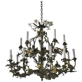 Napoleon III Bronze Floral Pagoda Chandelier, With 16 Lights For Sale