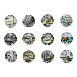 Piero Fornasetti Citta DI Carte City of Cards Plates in Complete Set of Twelve For Sale