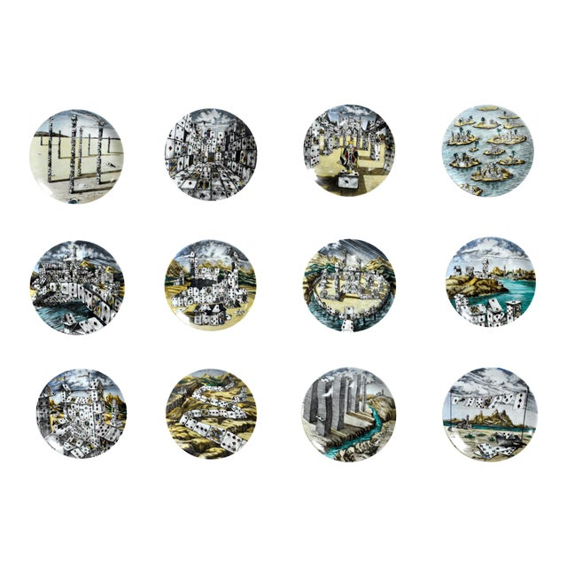 Piero Fornasetti Citta DI Carte City of Cards Plates in Complete Set of Twelve - Image 1 of 10