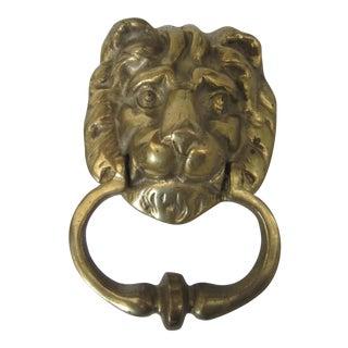 Vintage Lion Brass Door Knocker For Sale