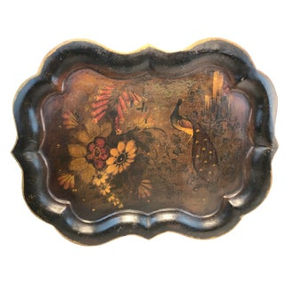 England Chippendale Large Hand Painted Black Peacock Bird Stencil Tole Tray For Sale