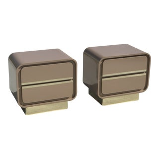 1970's Laminate and Brass Waterfall Nightstands - A Pair For Sale