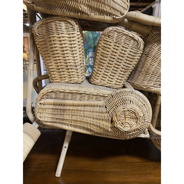Tan 1970s Handmade Life-Size Wicker Motorcycle For Sale - Image 8 of 10