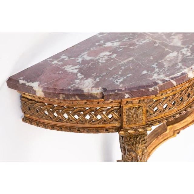 Traditional 19th Century French Giltwood Wall Mounted Console For Sale - Image 3 of 11