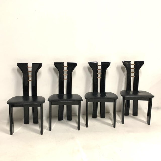 Black 1970s Pierre Cardin Sculptural Black Lacquer Chairs With Leather Seats - Set of 4 For Sale - Image 8 of 10