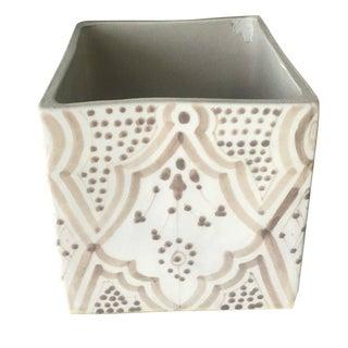 Modern Cubic Grey Porcelain Planter For Sale