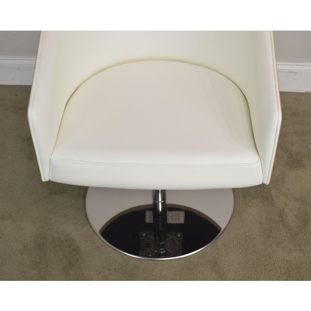 White Leather & Zebra Wood Barrel Back Pair Chrome Pedestal Swivel Lounge Chairs by Cape (B) For Sale - Image 9 of 13