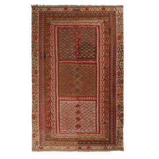 Vintage Kayseri Red and Brown Wool Kilim Rug - 6′ × 9′3″ For Sale